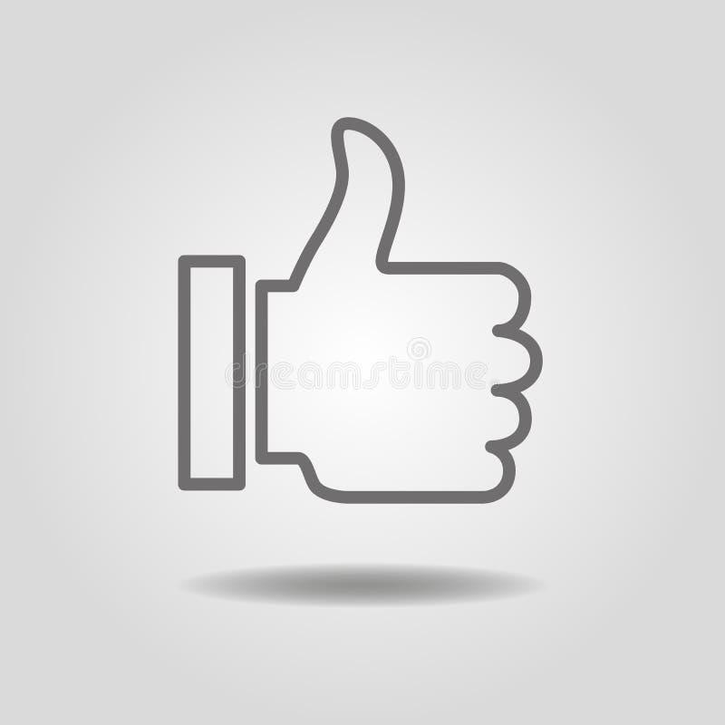 Os polegares levantam o ícone ilustração stock