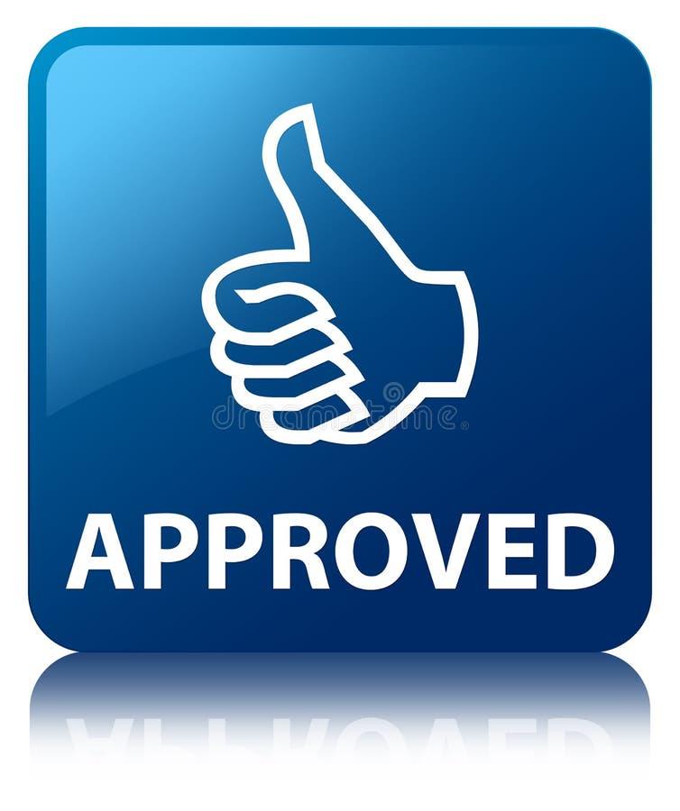 (Os polegares levantam o ícone) botão quadrado azul aprovado ilustração do vetor