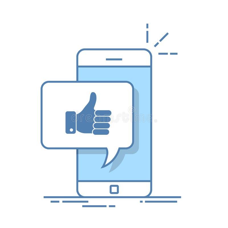 Os polegares levantam o ícone com smartphone Como a mensagem na tela, como o botão Rede social, uso social dos meios no dispositi ilustração do vetor