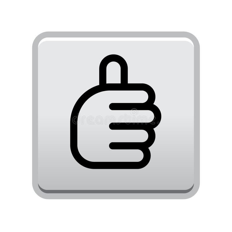 Os polegares levantam o botão do sinal ilustração stock