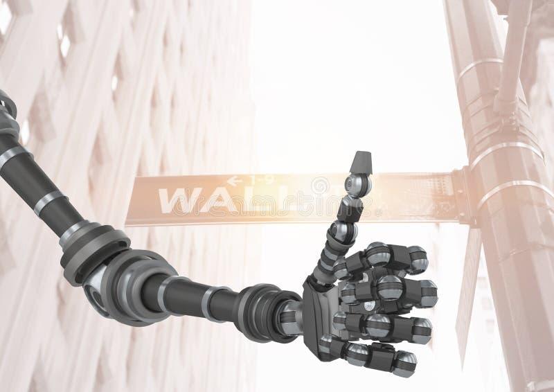 Os polegares levantam o braço do robô em Wall Street ilustração stock