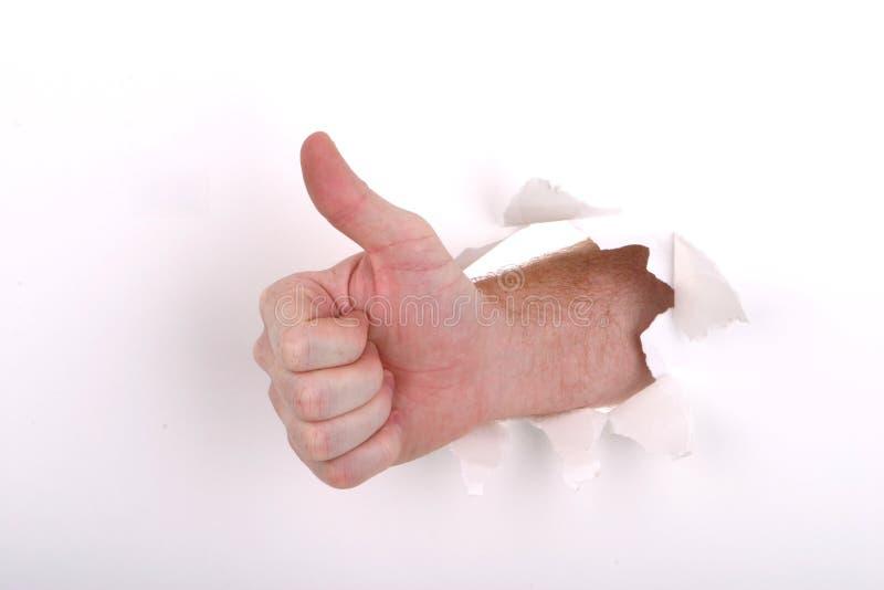 Os polegares levantam o branco imagens de stock royalty free