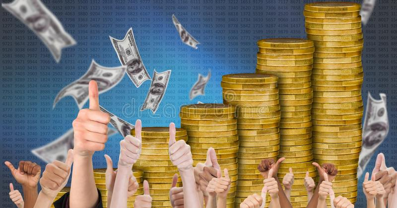 Os polegares levantam o crescimento de dinheiro fotografia de stock