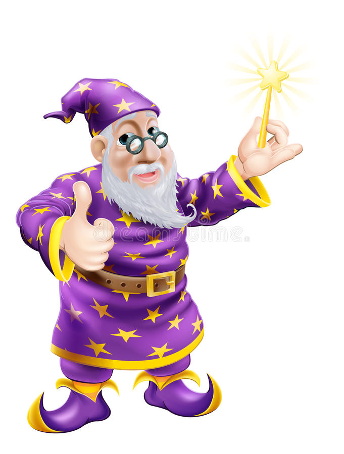 Os polegares levantam o feiticeiro com varinha ilustração stock
