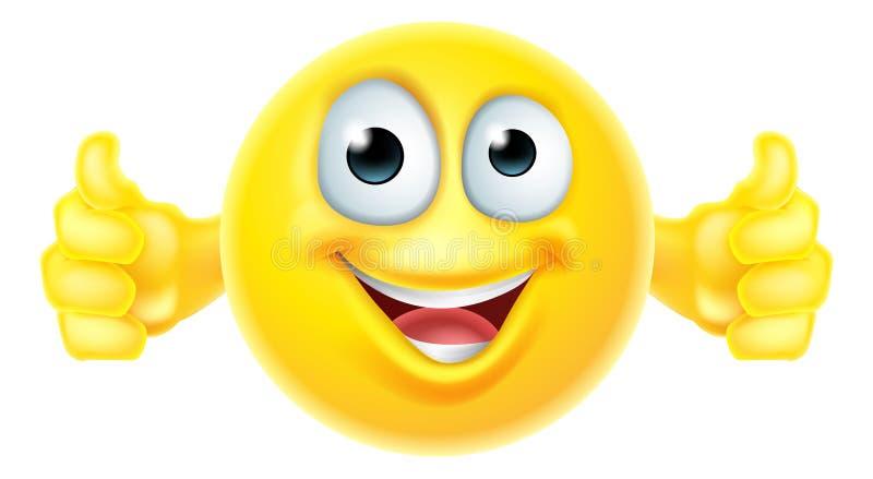 Os polegares levantam o smiley do emoji ilustração do vetor