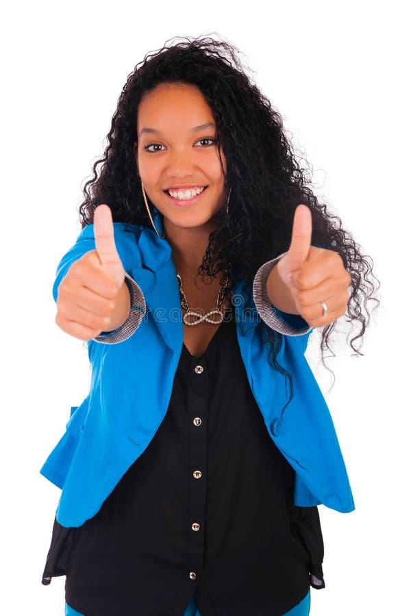 Os polegares levantam o sucesso feliz para o afro-americano consideravelmente novo foto de stock royalty free
