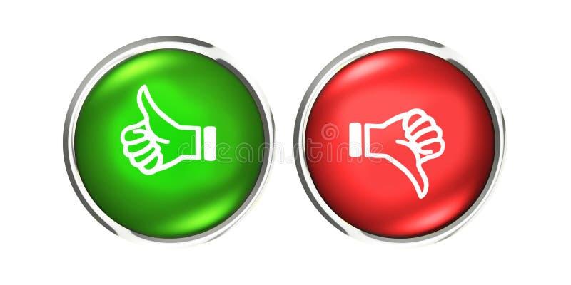 Os polegares para cima e para baixo o ouro abotoam-se como o verde vermelho do desagrado ilustração do vetor