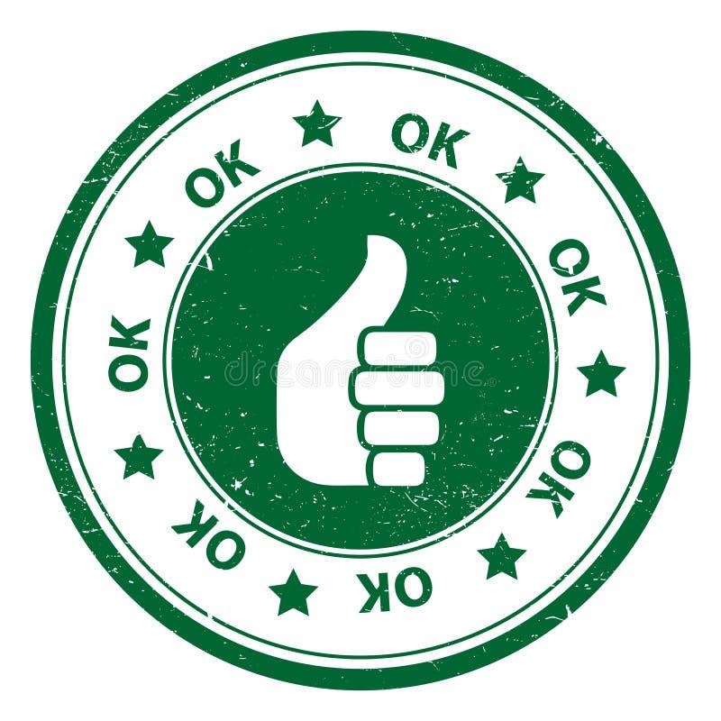 Os polegares redondos levantam o ícone ou o símbolo APROVADO ilustração stock