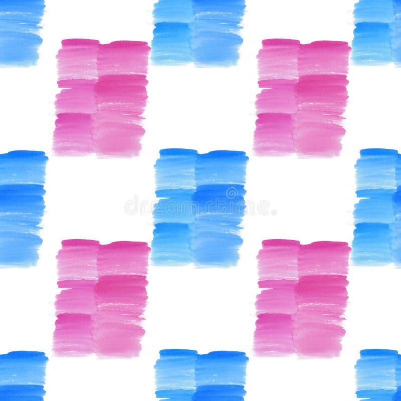 Os pontos azuis e cor-de-rosa do verão textured bonito transparente brilhante bonito abstrato borram a ilustração da mão da aquar ilustração do vetor