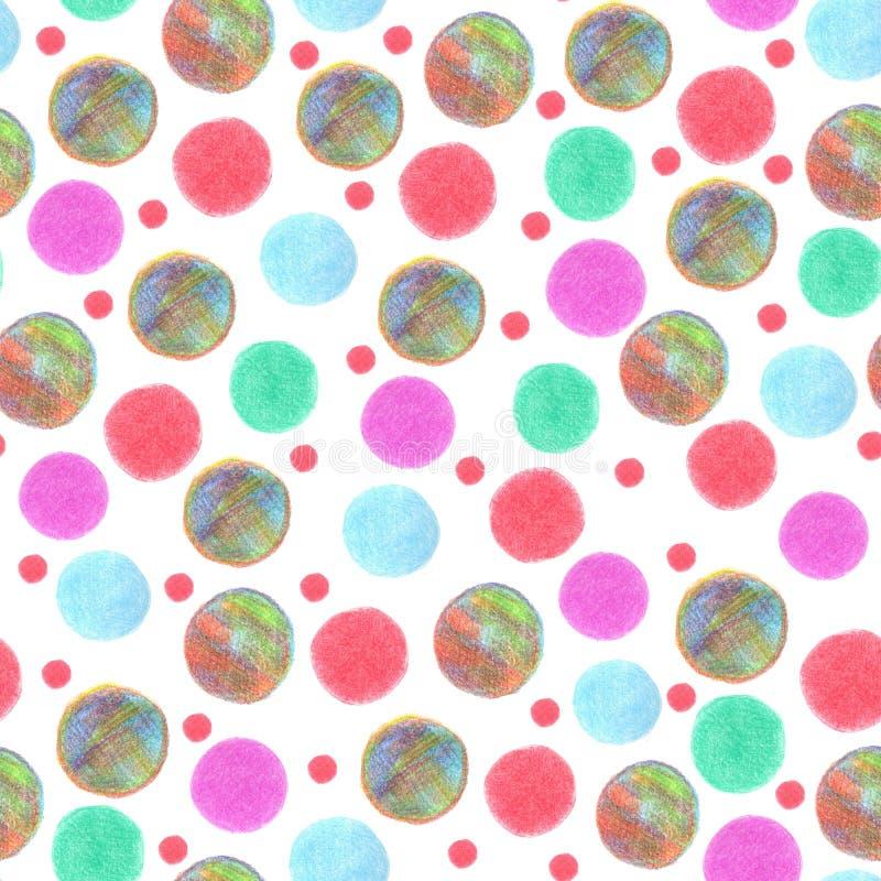 Os pontos coloridos do teste padrão sem emenda pintaram pensils da cor ilustração do vetor