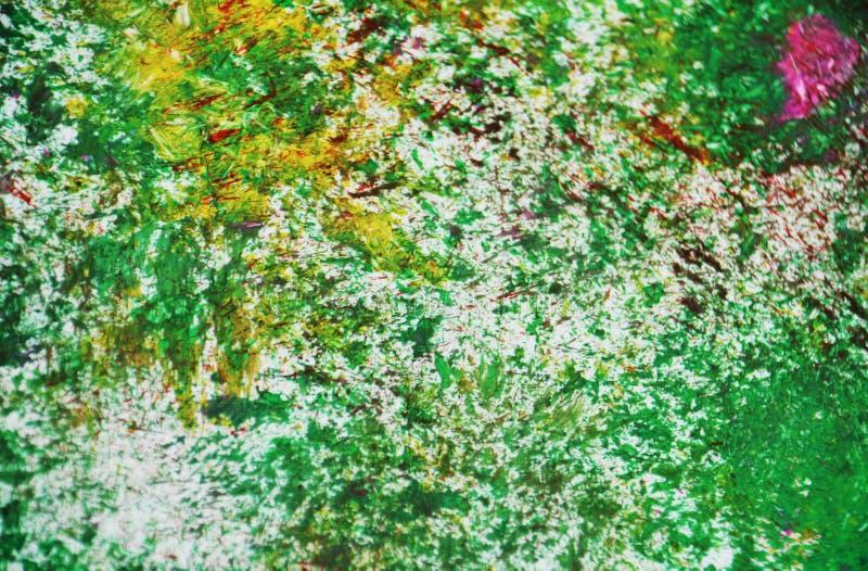 Os pontos cor-de-rosa de prata amarelos verdes contrastam o fundo de pintura da aquarela, acrílico da aquarela que pinta o fundo  fotografia de stock royalty free