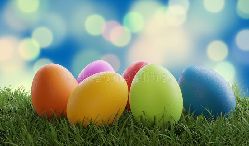 Os pontos criativos da grama verde dos ovos da páscoa projetam o fundo 3d-illustration ilustração royalty free
