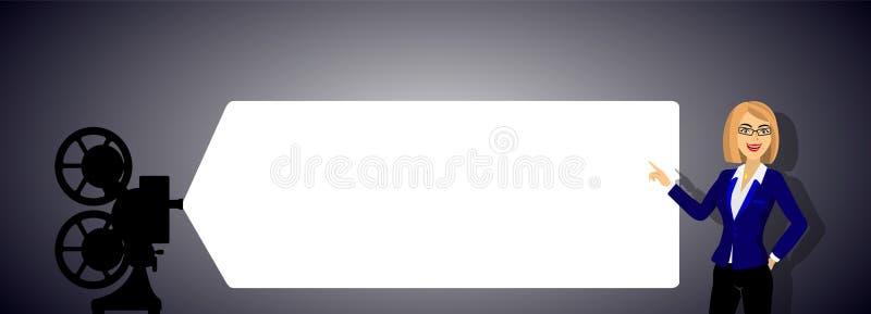 Os pontos da menina à tela do projetor ilustração do vetor