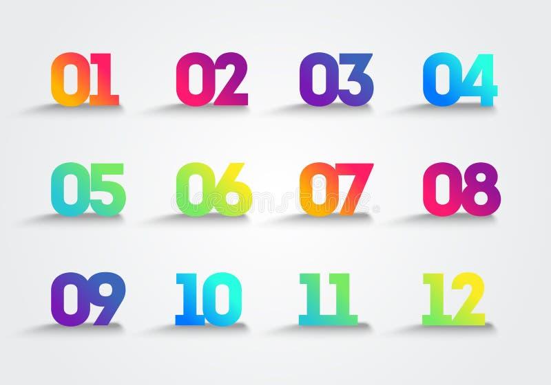 Os pontos de bala numeram etapas 1 12 Projeto infographic do vetor ilustração stock