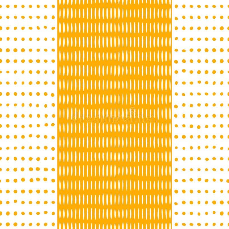 Os pontos e as listras amarelam o teste padrão sem emenda ilustração stock