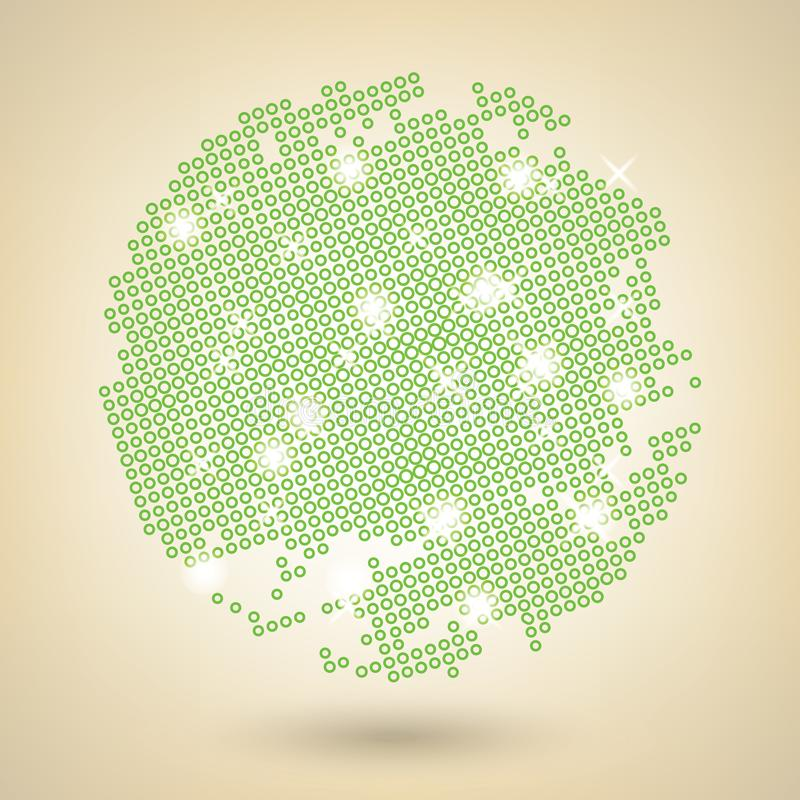 Os pontos verdes afligiram a textura no fundo bege ilustração do vetor