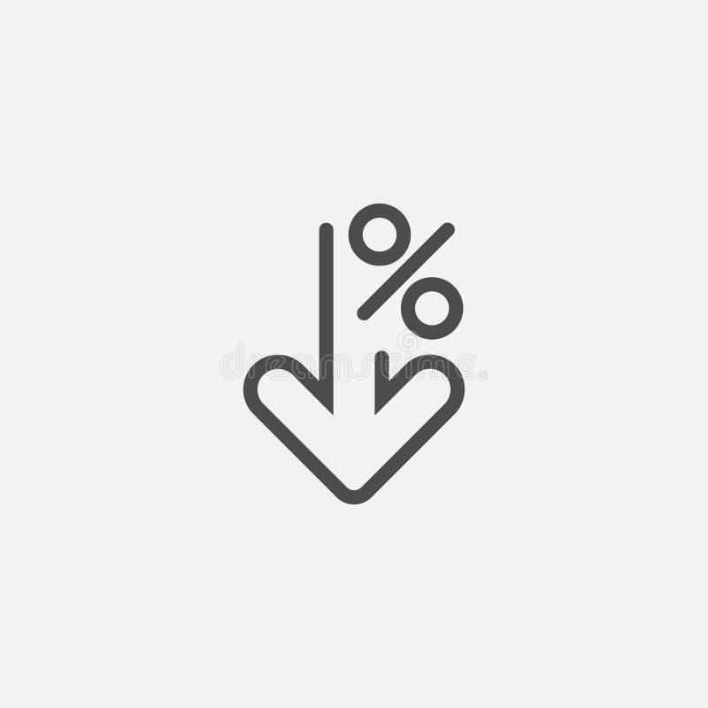 Os por cento alinham para baixo o ícone isolado no fundo branco Ilustração do vetor ilustração do vetor