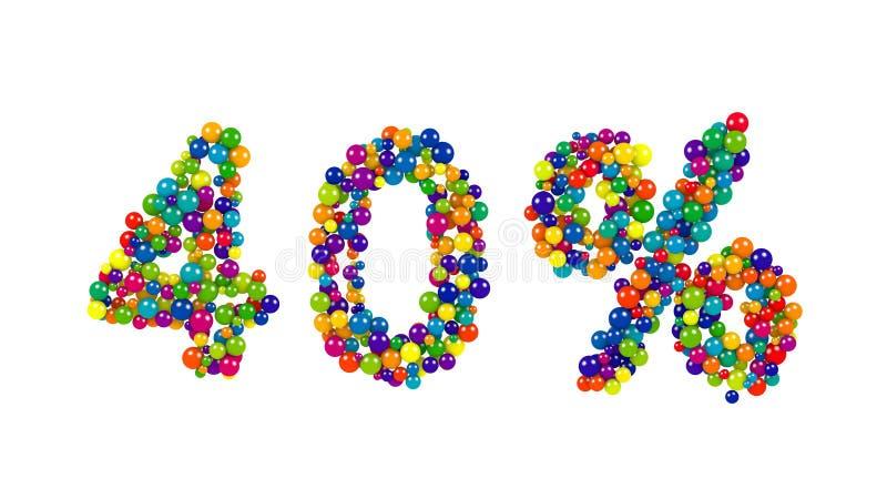 Os 40 por cento brilhantes coloridos assinam dentro cores do arco-íris ilustração stock
