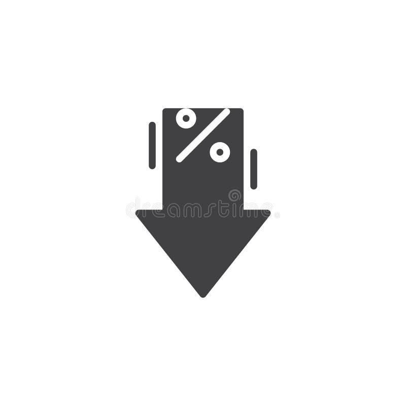 Os por cento vector para baixo o ícone ilustração do vetor