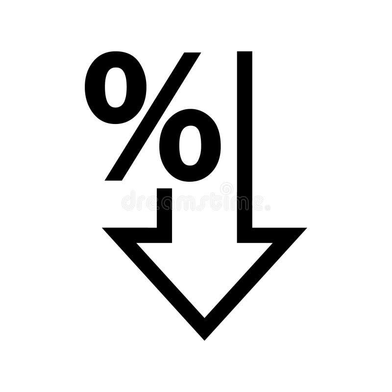Os por cento vector para baixo o ?cone Porcentagem, seta, redução - ilustração ilustração do vetor