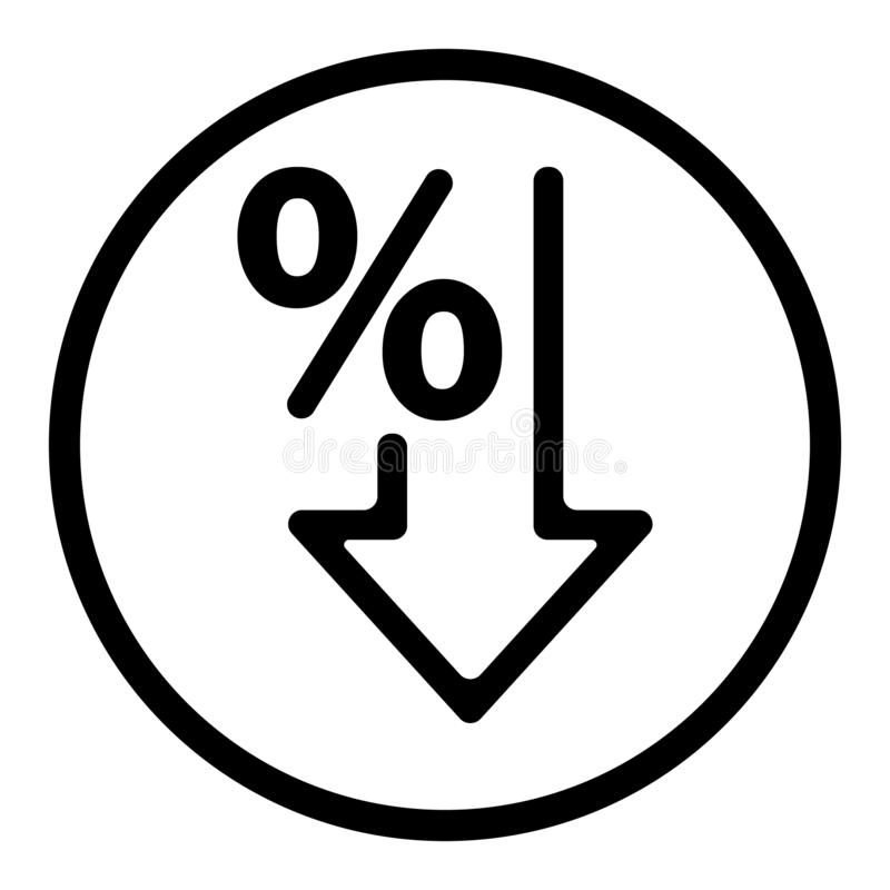 Os por cento vector para baixo o ?cone Porcentagem, seta, redu??o - ilustra??o ilustração do vetor