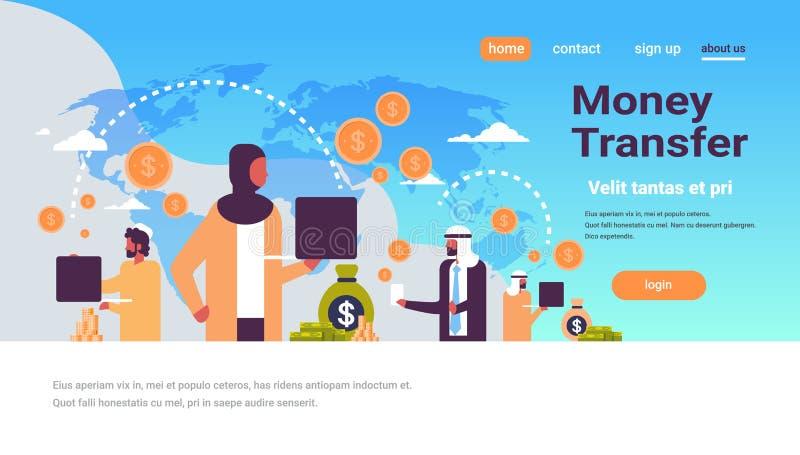 Os povos árabes que usam o dólar global do conceito de transferência de dinheiro da aplicação do pagamento inventam o espaço liso ilustração royalty free