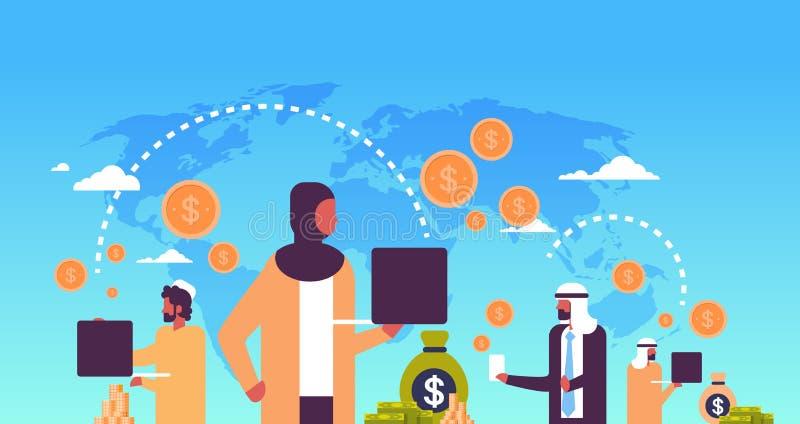 Os povos árabes que usam o dólar global do conceito de transferência de dinheiro da aplicação do pagamento inventam o fundo do ma ilustração do vetor