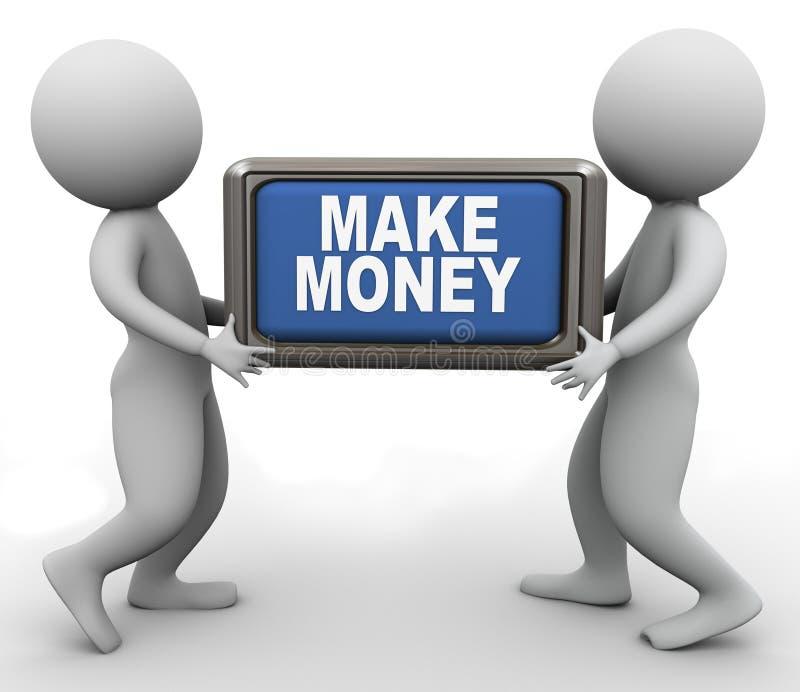 os povos 3d e fazem a tecla do dinheiro ilustração royalty free