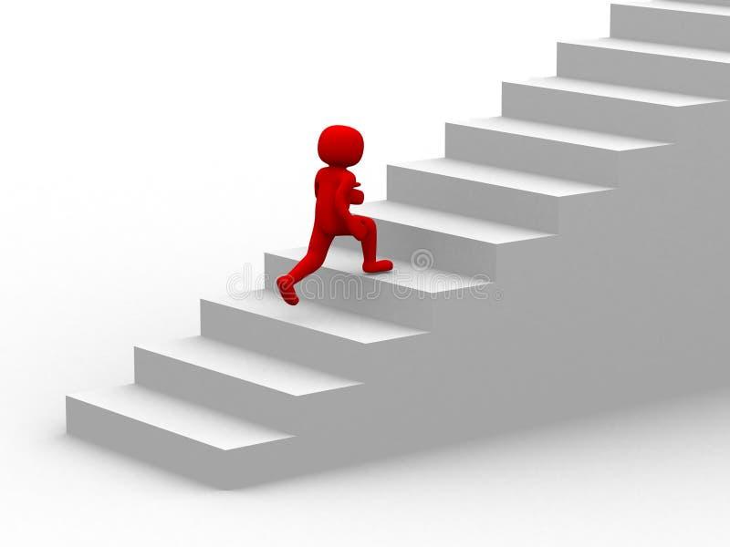 os povos 3d escalam a escadaria - escada ilustração do vetor