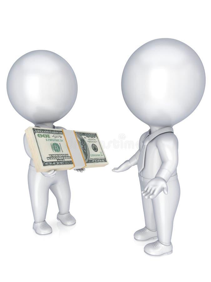 os povos 3d pequenos com um dólar embalam no as mãos. ilustração stock