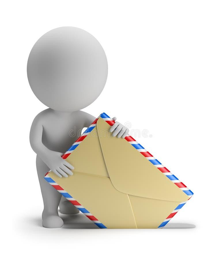os povos 3d pequenos - emita o correio ilustração stock
