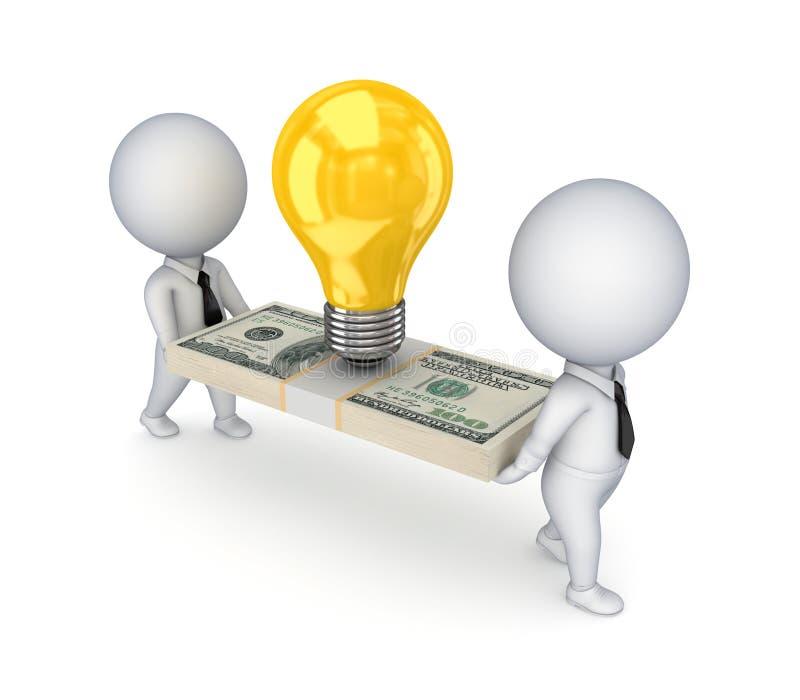 os povos 3d pequenos, o símbolo da idéia e o dólar embalam. ilustração royalty free