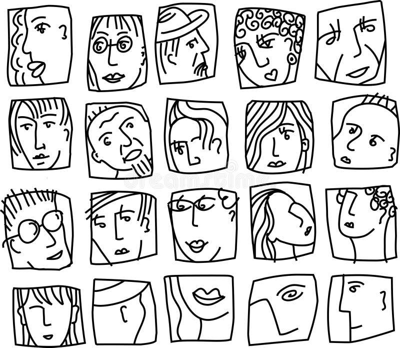 Os povos abstraem enfrentam o grupo preto e branco dos ícones dos caráteres dos avatars ilustração do vetor