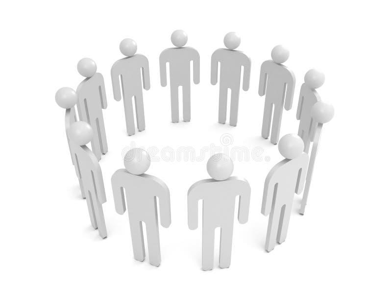 Os povos abstratos do branco 3d estão em um círculo ilustração stock