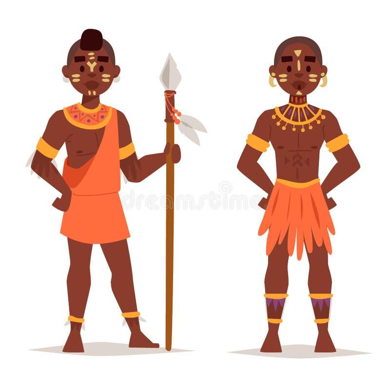 Os povos africanos de Maasai em famílias felizes da pessoa da roupa tradicional vector a ilustração ilustração royalty free