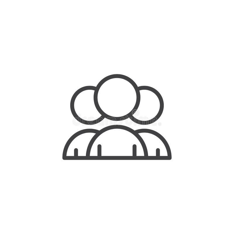 Os povos agrupam o ícone do esboço ilustração stock