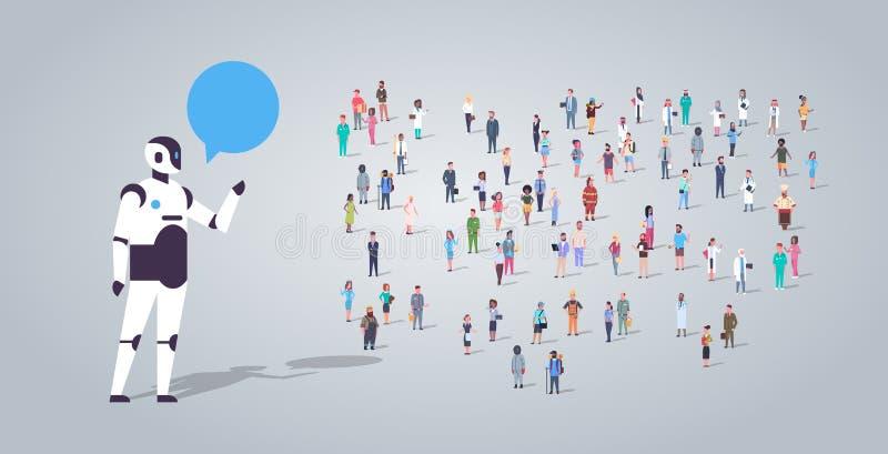 Os povos agrupam perto de uma comunicação que da bolha do bate-papo do roboot do chatbot os empregados diferentes da ocupação mis ilustração stock