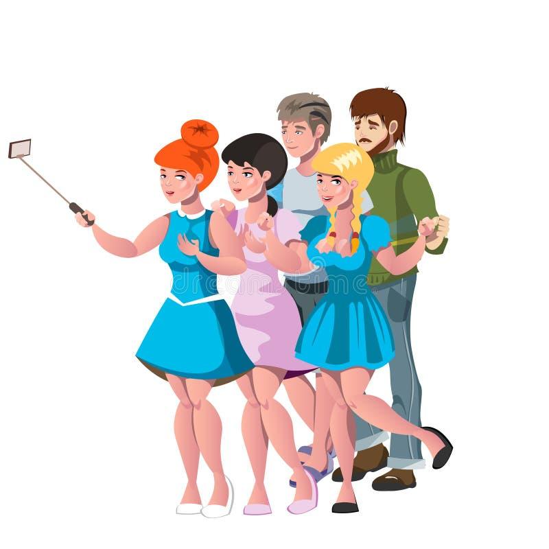 Os povos agrupam a tomada de amigos da foto do selfie ilustração royalty free