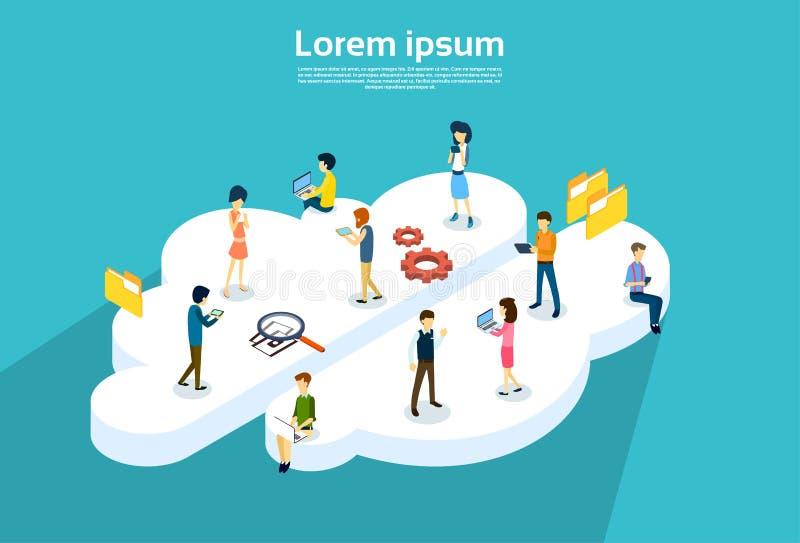 Os povos agrupam usando a sincronização em linha do serviço da nuvem dos dispositivos do Internet ilustração stock