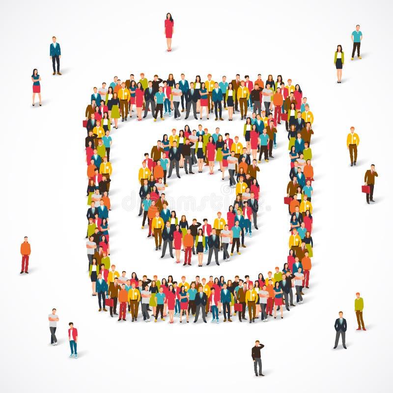 Os povos alinharam como um sinal do instagram ilustração royalty free