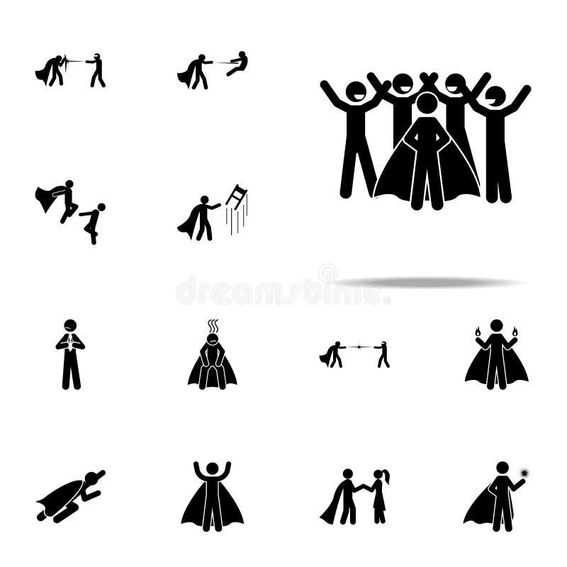 os povos amam o ícone do super-herói grupo universal dos ícones do herói para a Web e o móbil ilustração do vetor