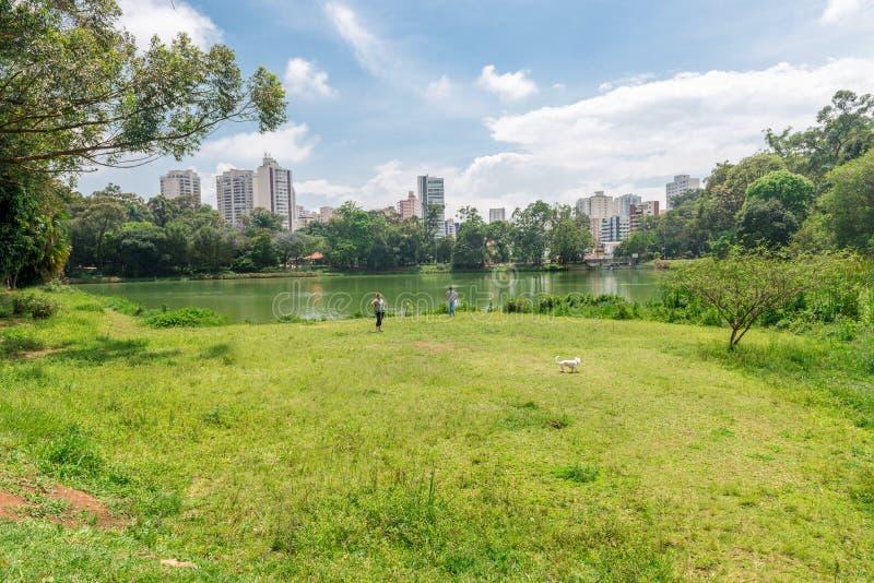 Os povos andam junto com seu cão no parque de Aclimacao imagem de stock