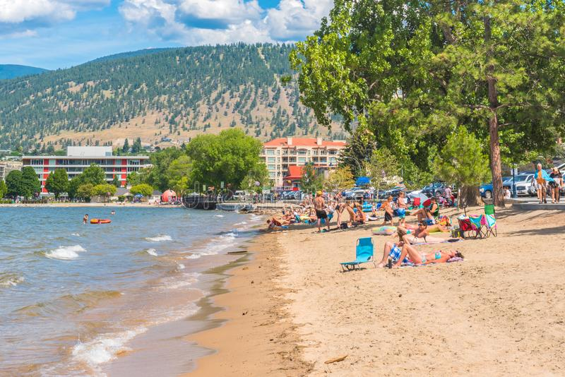 Os povos apreciam a praia e o lago em uma tarde quente do verão fotografia de stock royalty free