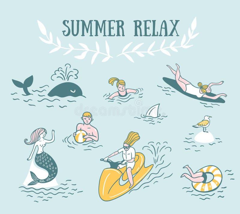 Os povos ativamente relaxam, nadam no mar Ilustração das férias do mar do verão ilustração royalty free