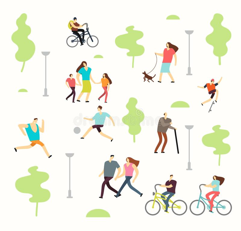 Os povos ativos felizes em vários estilos de vida na mola estacionam com árvores Passeio do homem e da mulher exterior ilustração royalty free