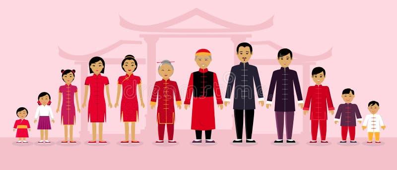 Os povos chineses da família projetam horizontalmente ilustração do vetor