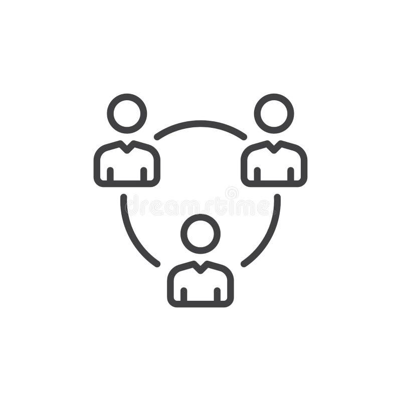Os povos circundam, grupo de linha de usuários ícone, sinal do vetor do esboço, pictograma linear do estilo isolado no branco Sím ilustração royalty free