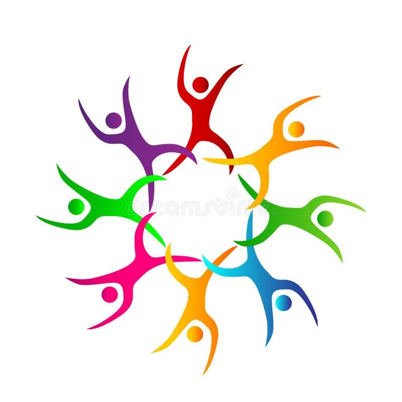 Os povos coloridos da cor da união do trabalho da equipe dos povos junto trabalham junto oito pessoas do logotipo ilustração royalty free