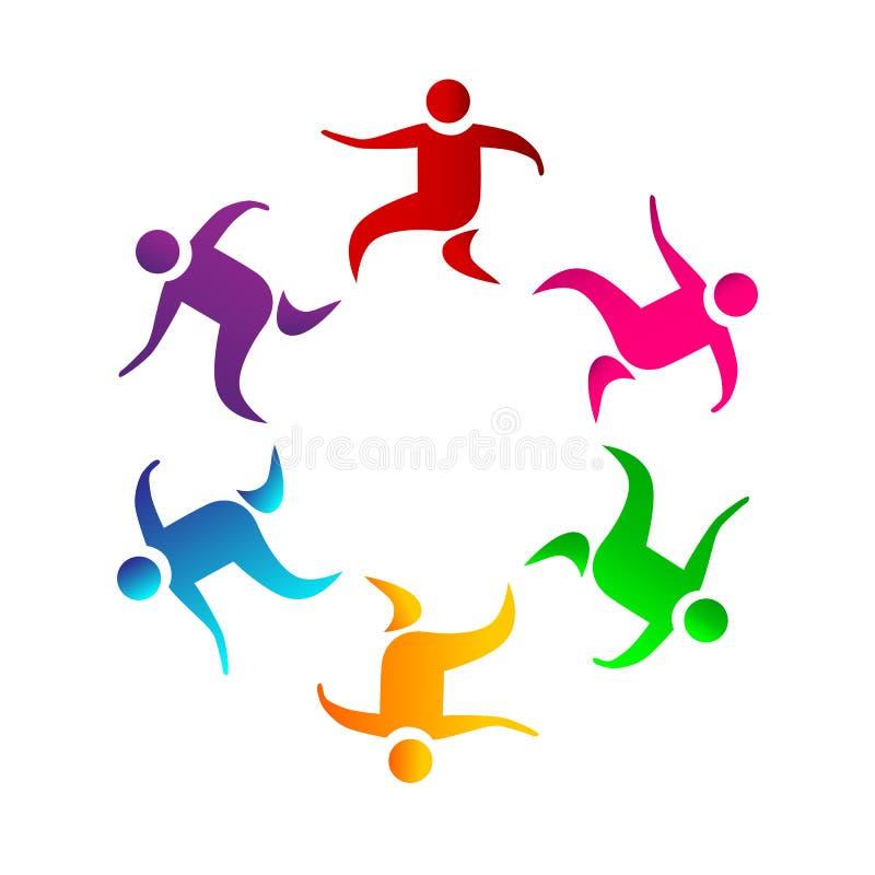 Os povos coloridos da cor da união do trabalho da equipe dos povos junto trabalham junto seis pessoas do logotipo ilustração royalty free
