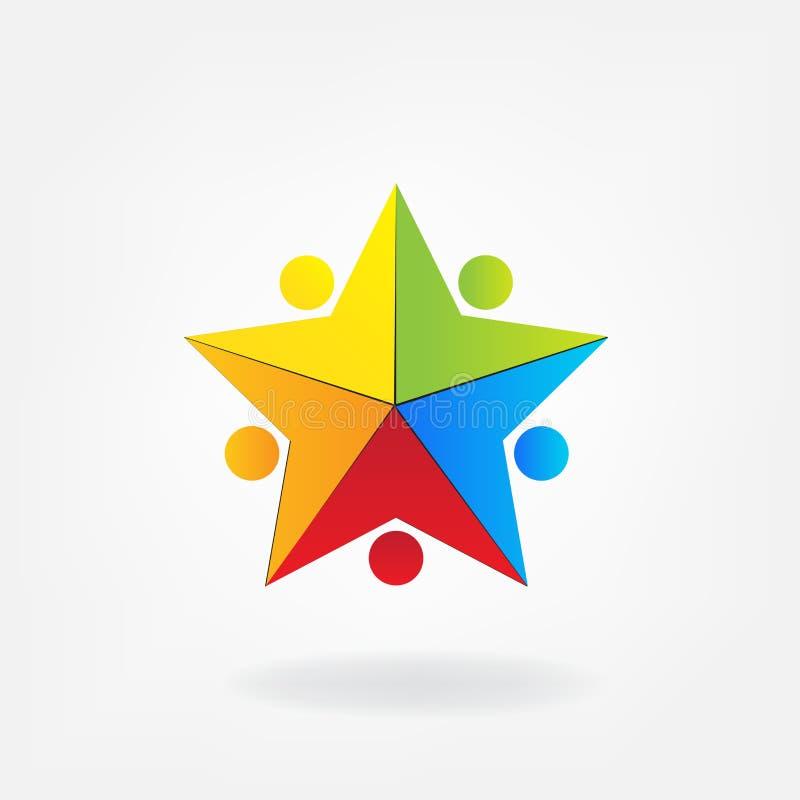 Os povos coloridos da unidade dos trabalhos de equipa do logotipo na estrela dão forma ao ícone ilustração stock